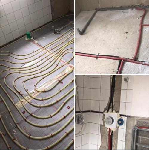 Altbausanierung. Neues Bad mit Fußbodenheizung und freistehende Badewanne